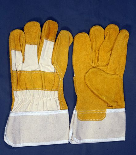 Yellow & White Leather Working Gloves