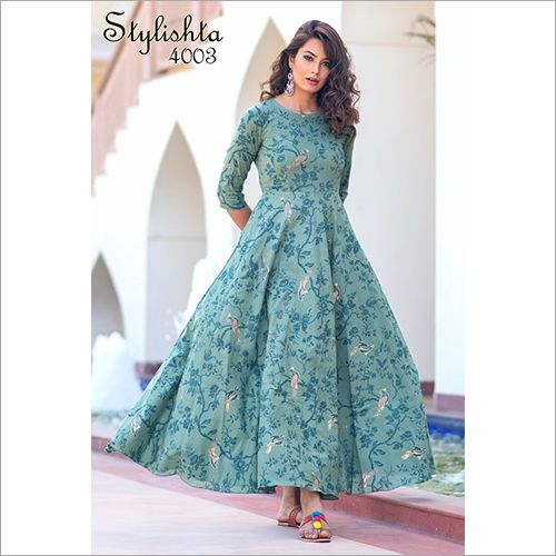 Light Aqua Colour Pure Maslin Digital Print Gown