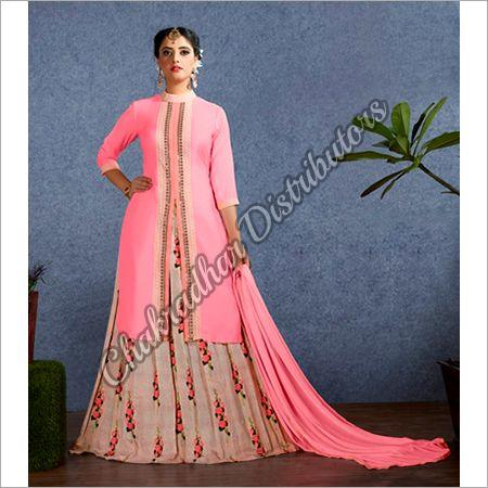 Satin Lehenga With Long Short Kurti Suit