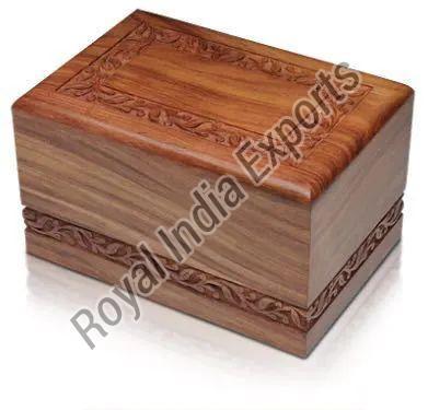 Carved Sheesham Wood Cremation Urn