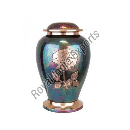 Rose Print Brass Urn