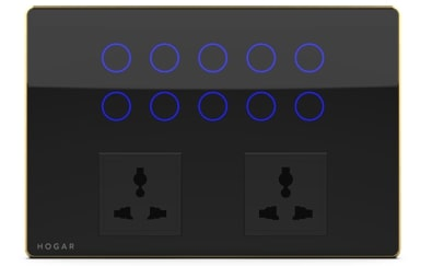 Ten Touch Switch Panel with Two Sockets