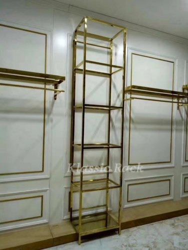 Brass Finish Garment Display Rack