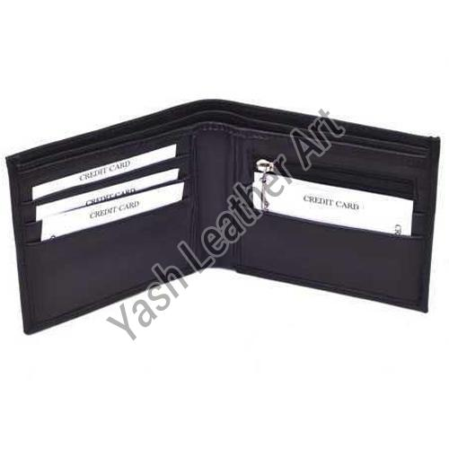 4 Card Slot Mens Black Leather Wallet