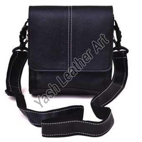 Black Men PU Leather Crossbody Bag