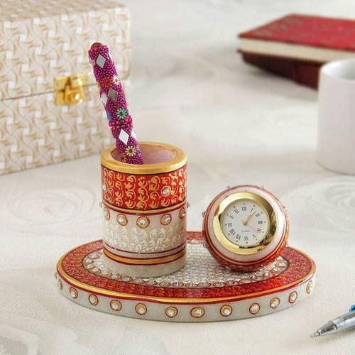 Marble Pen Stand With Clock