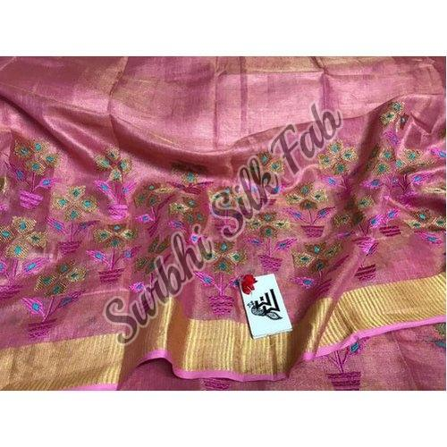 Designer Embroidered Linen Saree