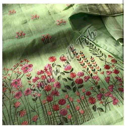 Floral Embroidered Linen Saree