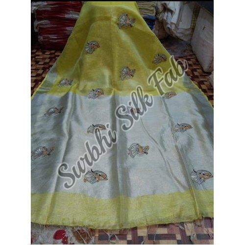Embroidered Tissue Linen Saree