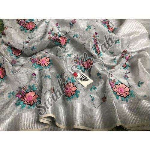 Fancy Tissue Linen Saree