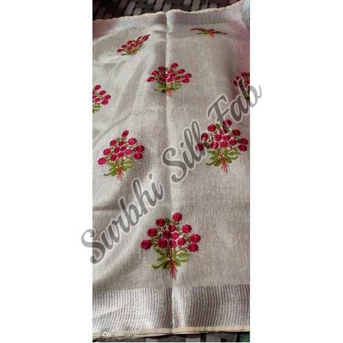 White Embroidered Linen Saree