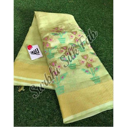 Yellow Embroidered Linen Saree