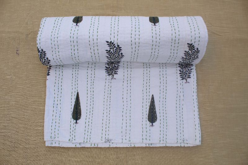 Single Bed Cotton Kantha Quilt