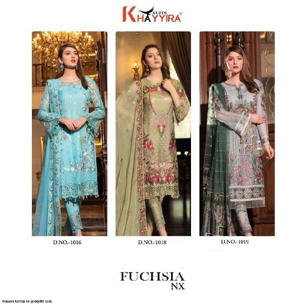 Khayyira Fushsia Nx 3 Pcs Pakistani Style Embroidered Suits