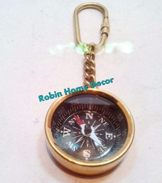 Brass Pocket Compass Keychain