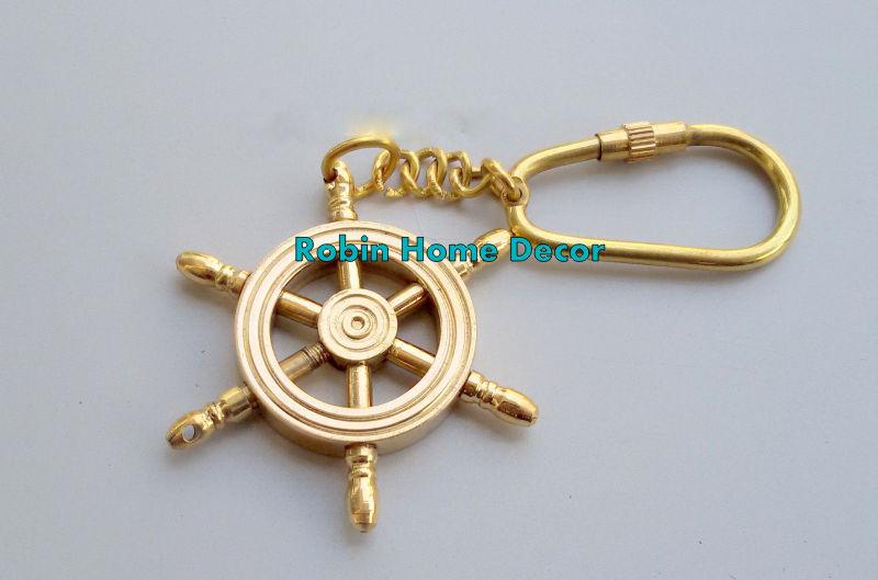 Brass Ship Wheel Keychain