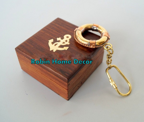 Brass Swimming Tube Keychain with Wooden Box
