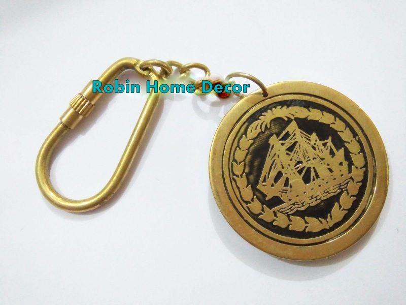 Nautical Calendar Brass Keychain