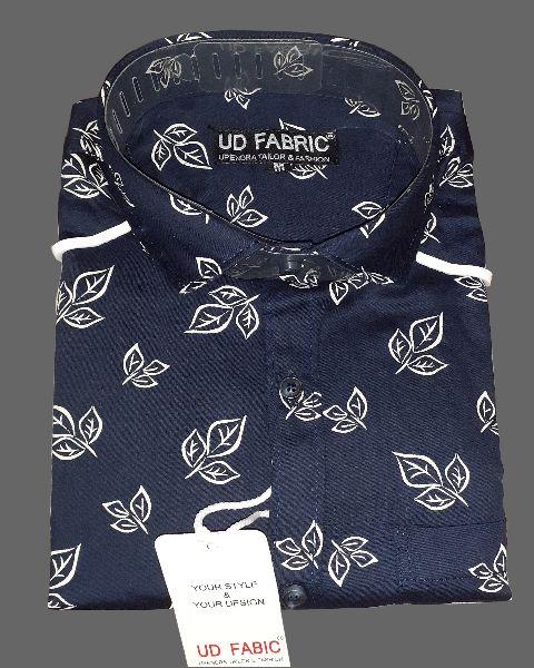 Mens Blue Cotton Shirt