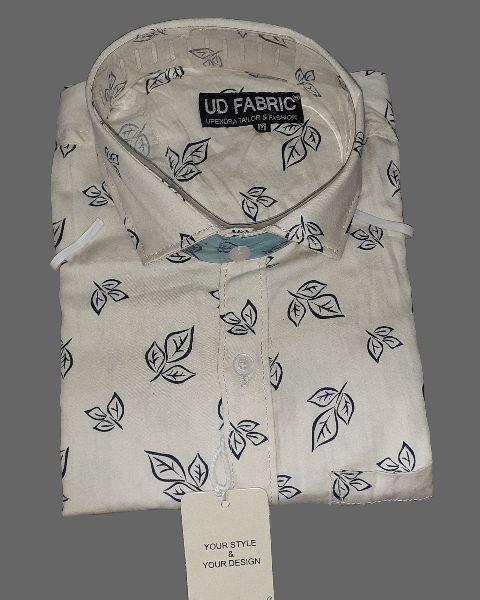 Mens Cream Cotton Shirt