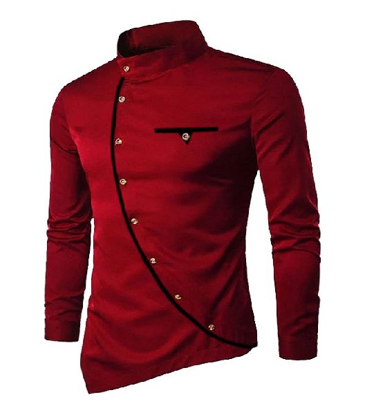 Mens Maroon Cotton Kurta