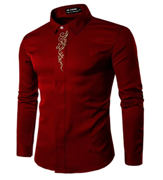 Mens Maroon Cotton Shirt