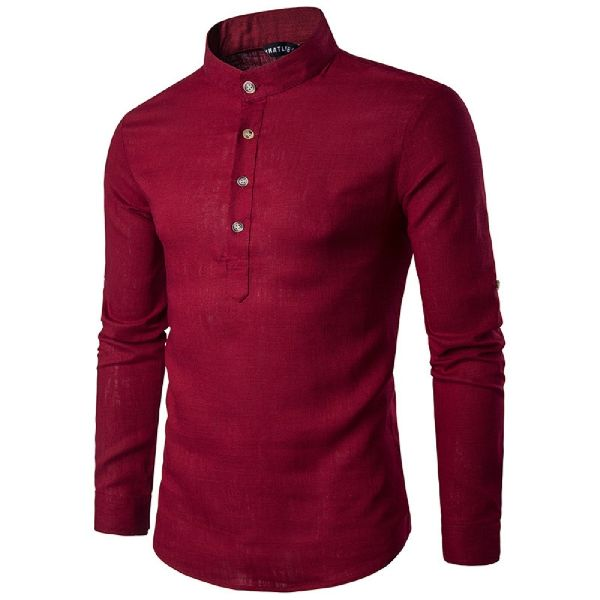 Mens Maroon Short Kurta