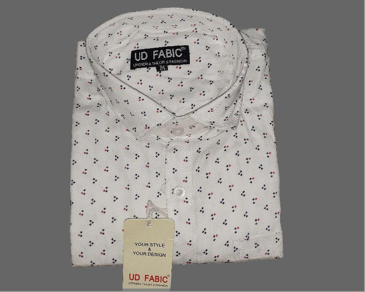 Mens White Printed Shirt