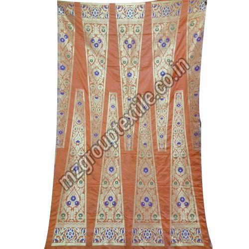 Orange Unstitched Banarasi Lehenga