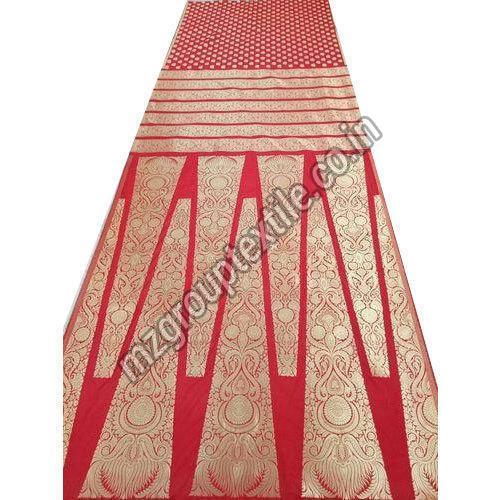 Red Unstitched Banarasi Lehenga