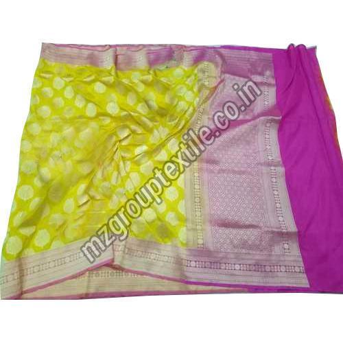 Yellow Katan Silk Saree