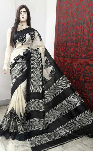 Block Print Pure Silk Saree