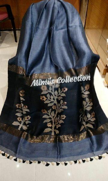 Silk Linen Pallu Sarees