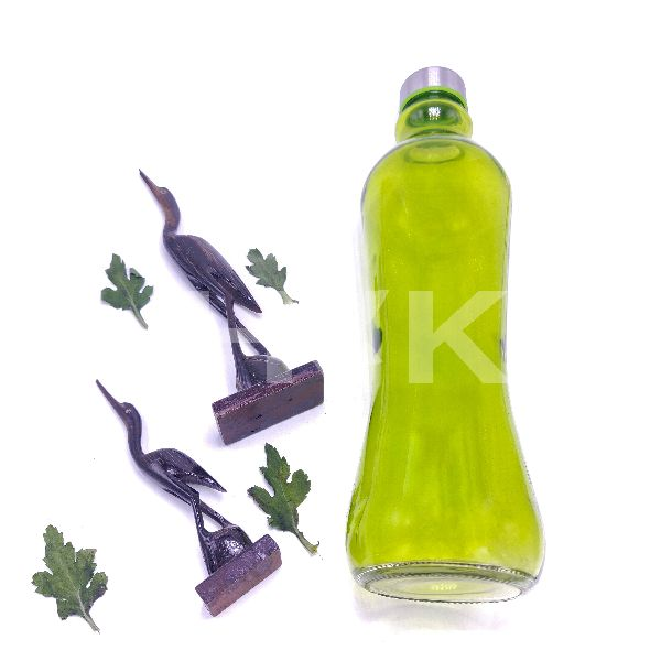 Plain Fridge Glass Water Bottle With Steel Lid