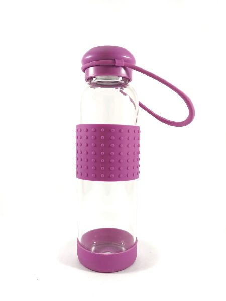 Silicone Glass Water Bottle(Purple)