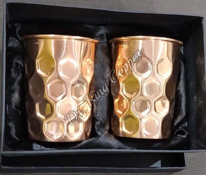 Copper Diamond Design Glass Set
