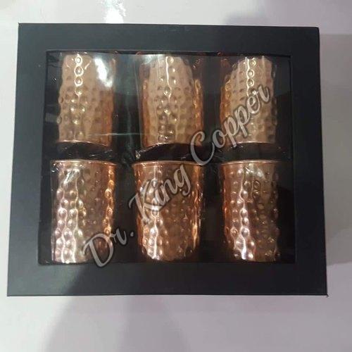 Copper Hammered Glass Set