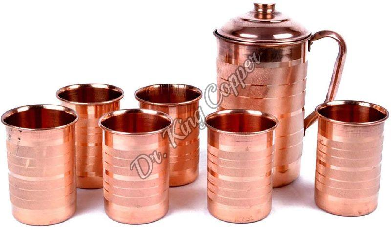 Copper Jug with 6 Glass Set