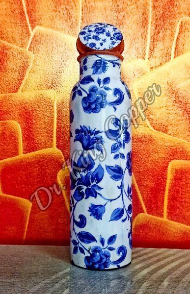 Flower Printed Copper Bottle