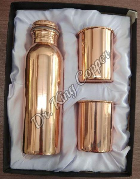 Plain Copper Bottle with Glass Set