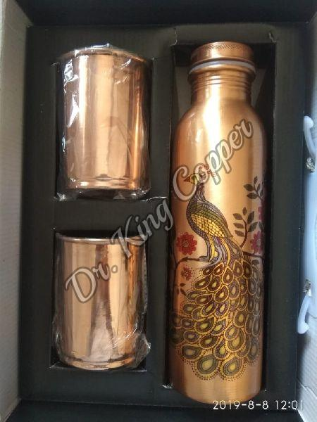 Printed Copper Bottle with Glass Set
