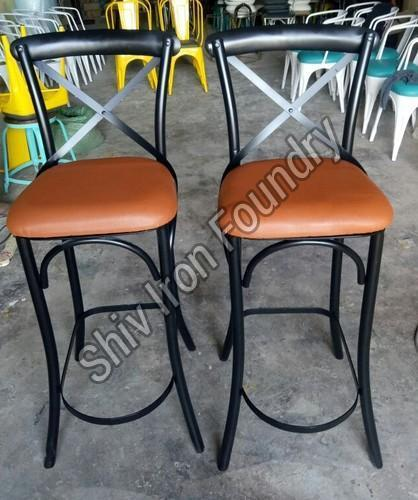 Leather and Iron Bar Chair
