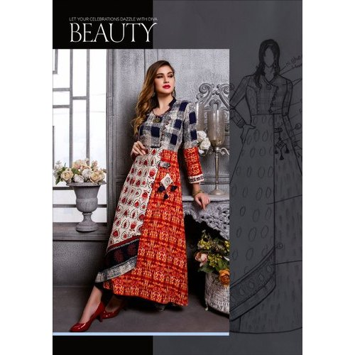 Printed Full Sleeve Anarkali Kurti