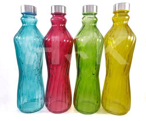 Line Fridge Glass Water Bottle With Steel Lid