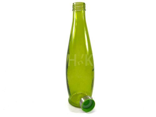 Round Fridge Glass Water Bottle With Steel Lid