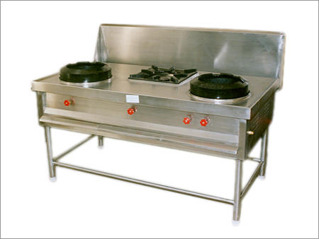 Stainless Steel Chinese Double Burner Cooking Range