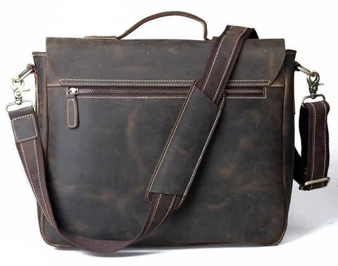 Handmade Vintage Leather Briefcase Messenger Bag