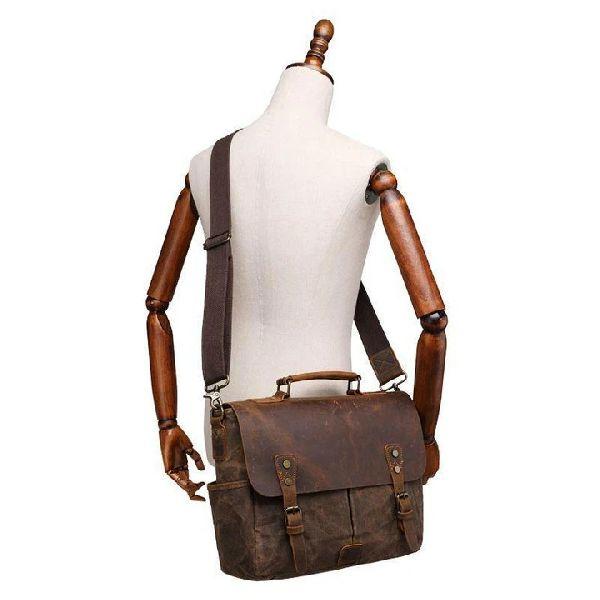 Mens Leather Briefcase Messenger Bag