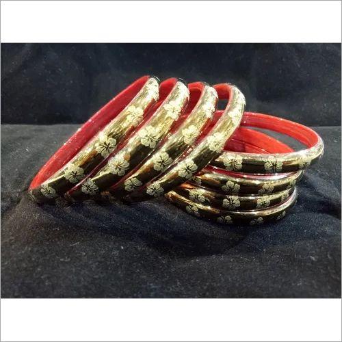 Golden Polish Glass Bangles