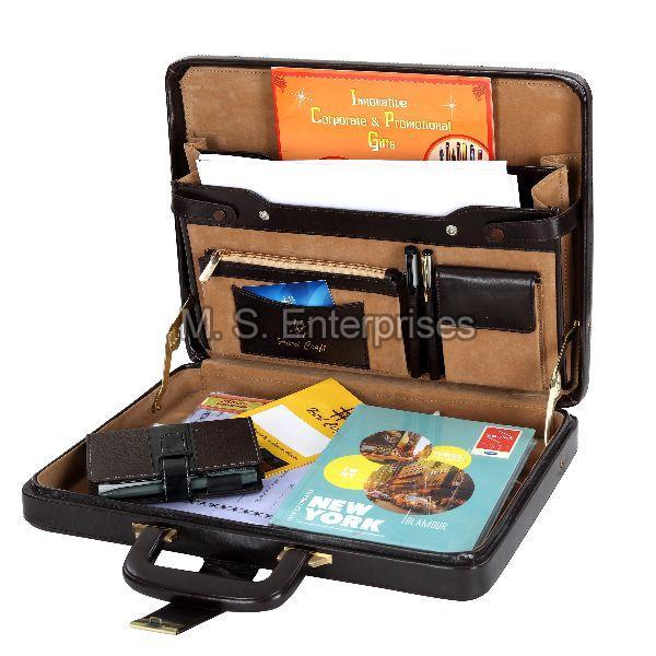 Hard Craft Vegan Leather Briefcase Attache Combination Lock Ultra Slim - Maroon